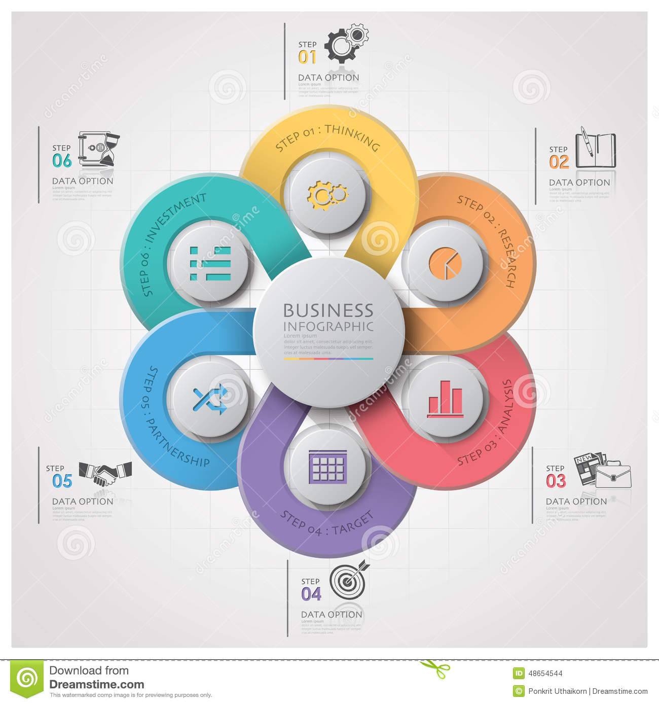 Business infographic with weaving curve circle step diagram stock business infographic with weaving curve circle step diagram pooptronica