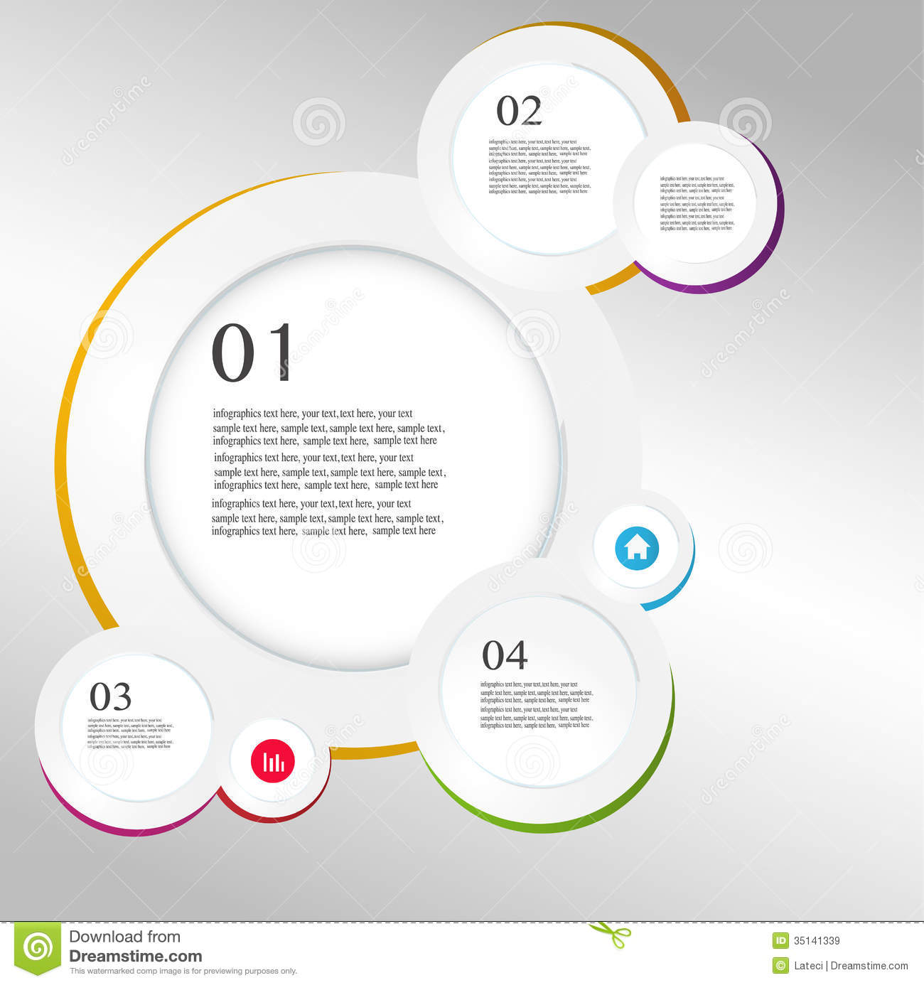 Business Infographics Circle Origami Style Vector Royalty