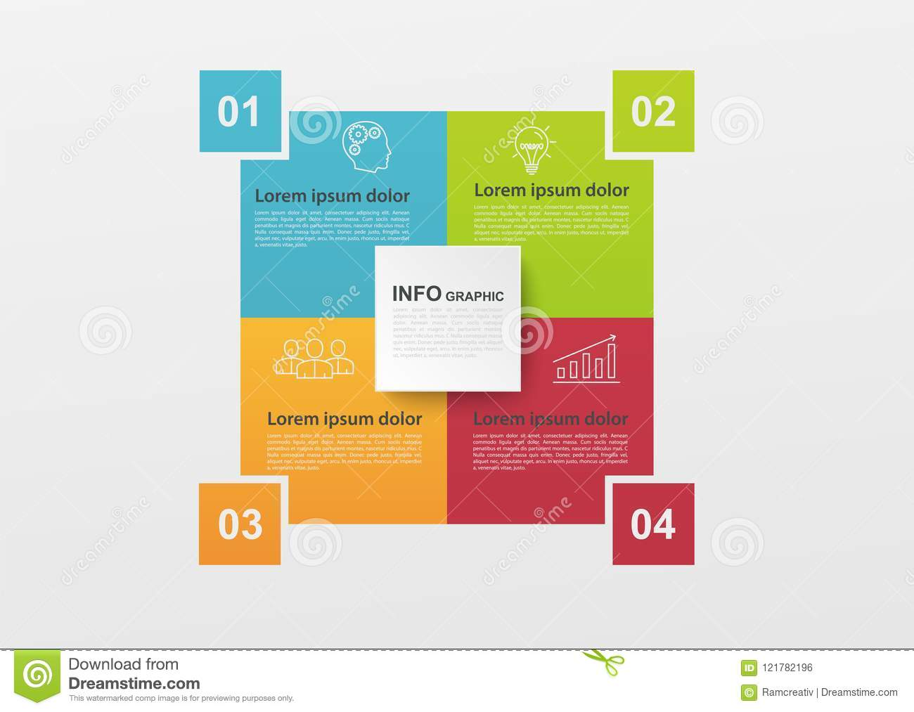 Business Infographics With 4 Colorful Steps Or Processes  Block Diagram  Infographic Elements