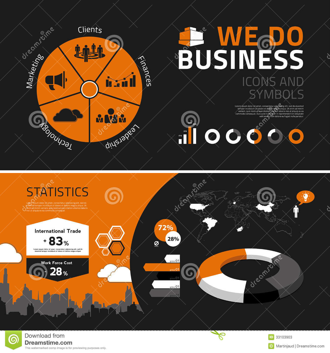 business infographics elements  icons and symbols stock vector
