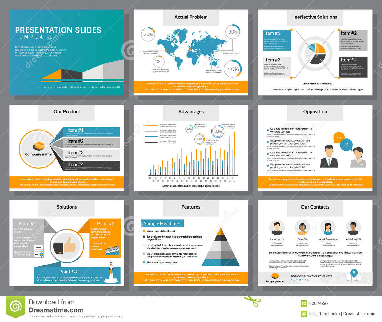 business infographics presentation slides template stock vector, Sample Presentation Slides Template, Presentation templates
