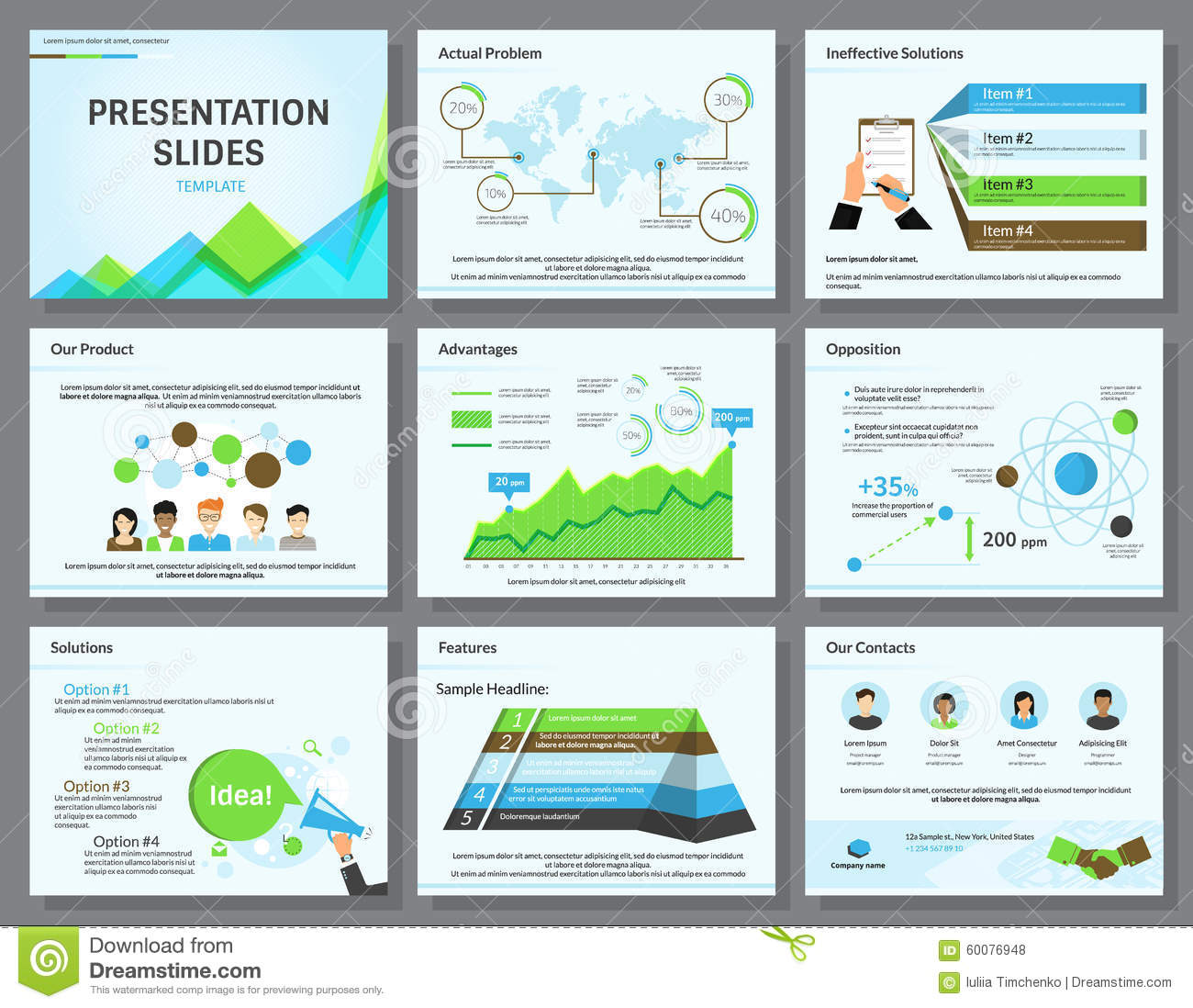 business infographics presentation slides template stock vector