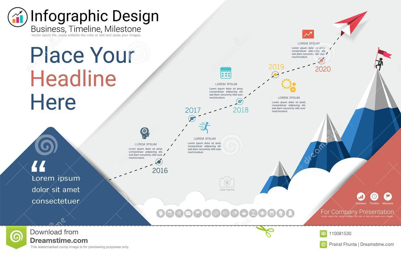 Business infographics template, Milestone timeline or Road map with Process  flowchart 5 options, Strategic plan to define company values, Scheduling in  ...