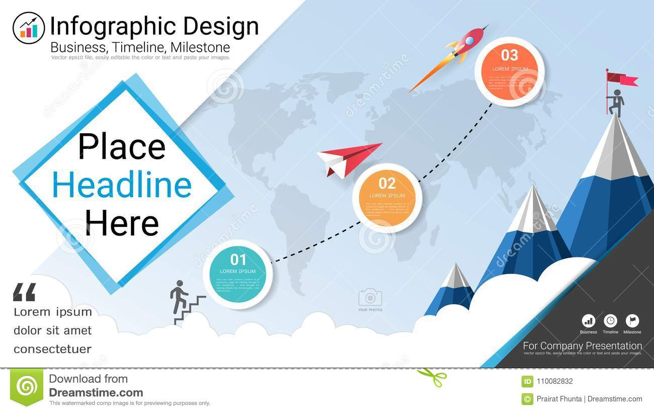 Business infographics template, Milestone timeline or Road map with Process flowchart 3 options.