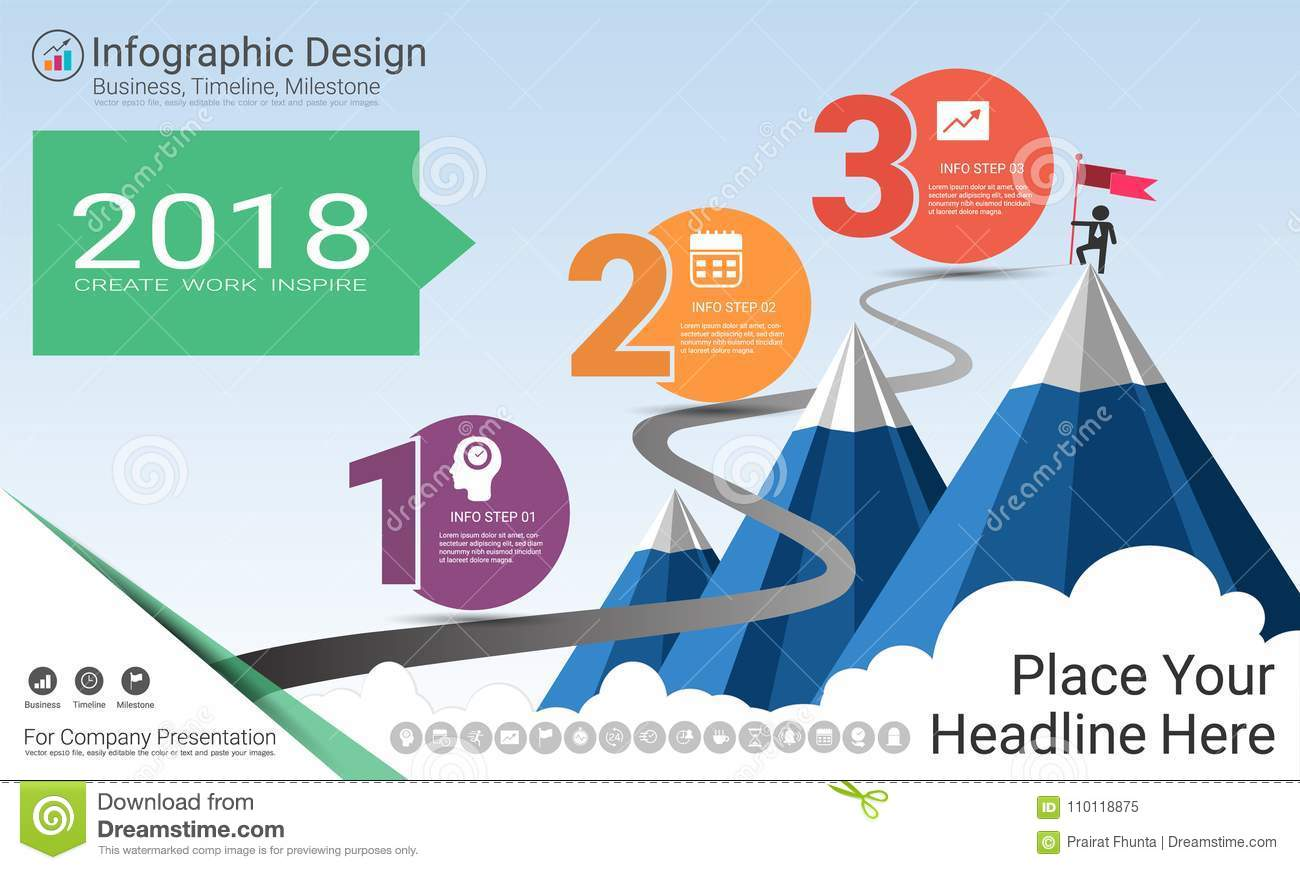 Business Infographics Template Milestone Timeline Or Road Map With - Editable process flow chart