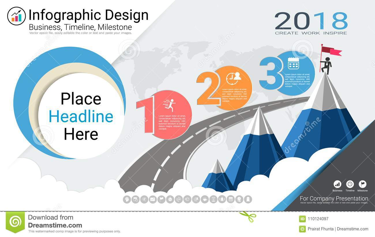 Business Infographics Template Milestone Timeline Or Road Map With How To Draw A Good Diagram Of Workflow Basic Flowchart Process 3 Options Strategic Plan Define Company Values Scheduling In