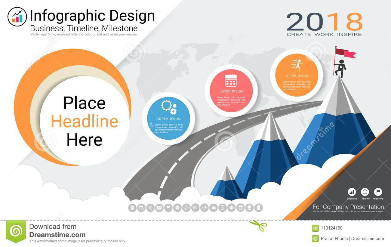 Business Infographics Template, Milestone Timeline Or Road ... on