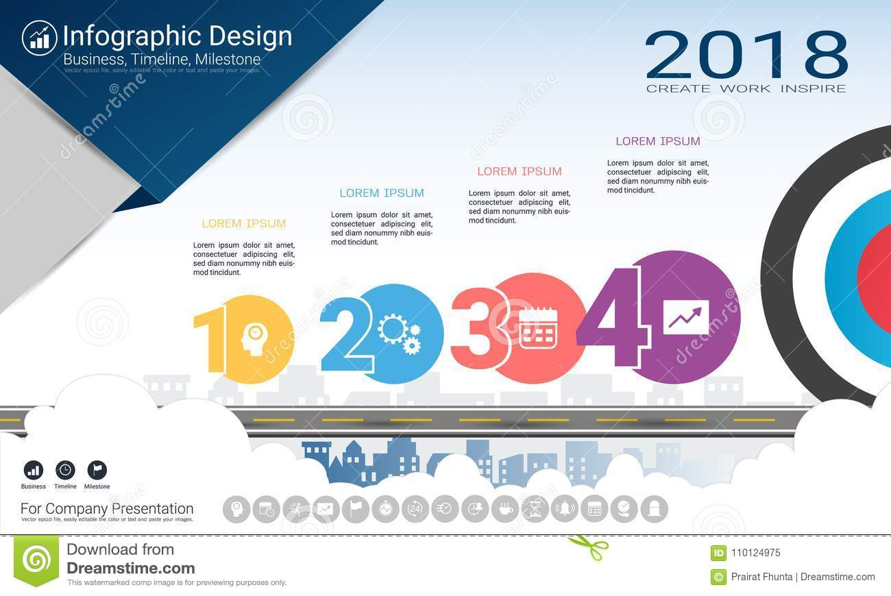 Business Infographics Template, Milestone Timeline Or Road ...