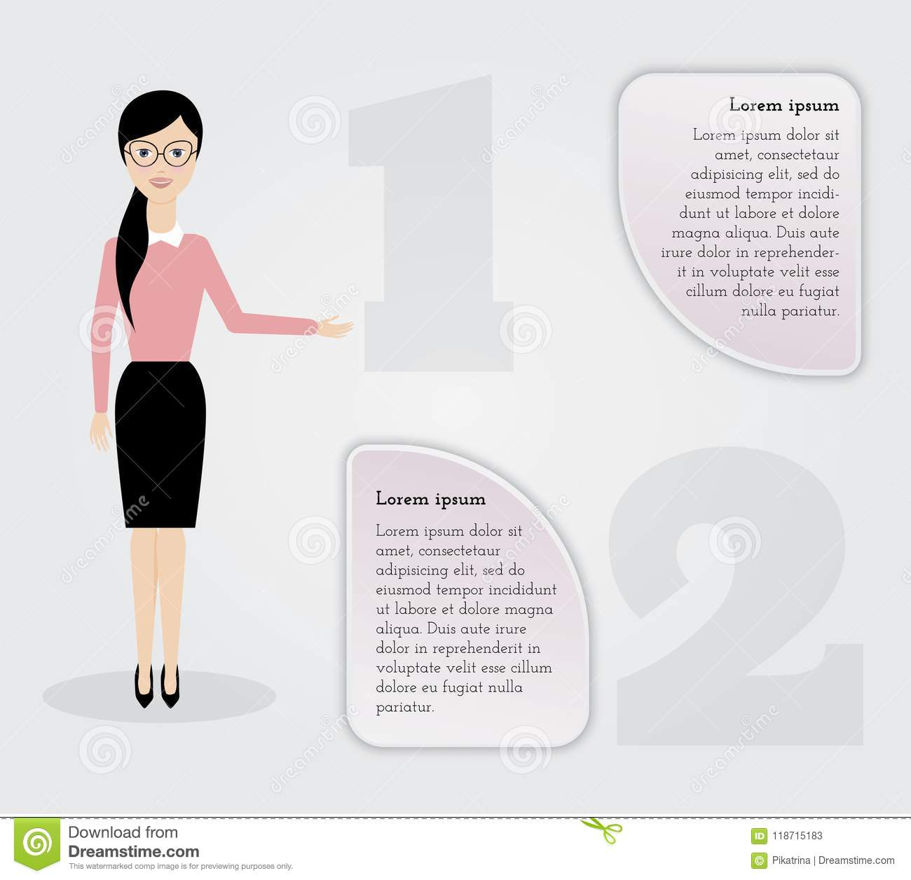 Business infographics.Woman with infographics elements.