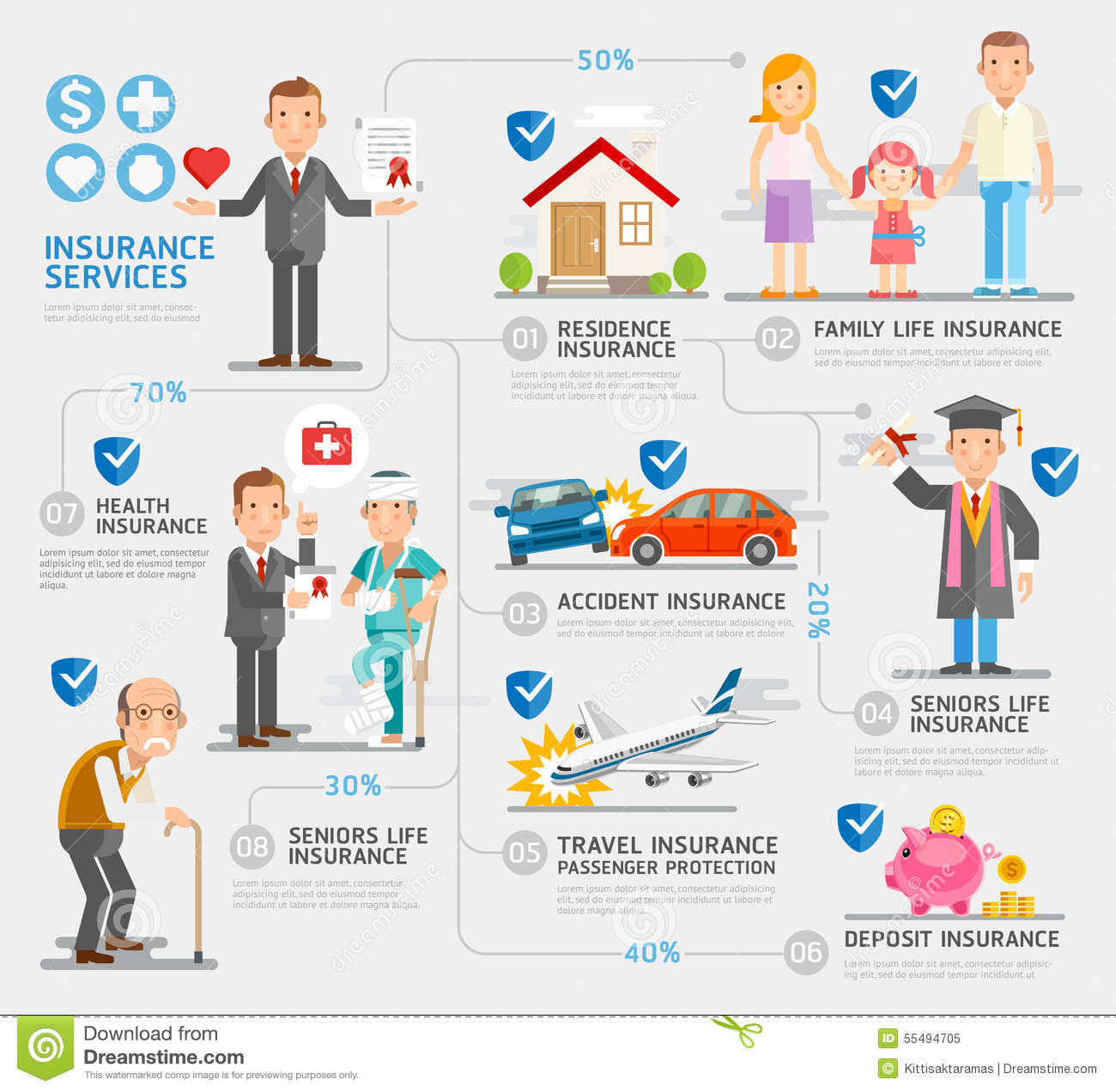 Illustrator Character Design Templates : Business insurance character and icons template stock