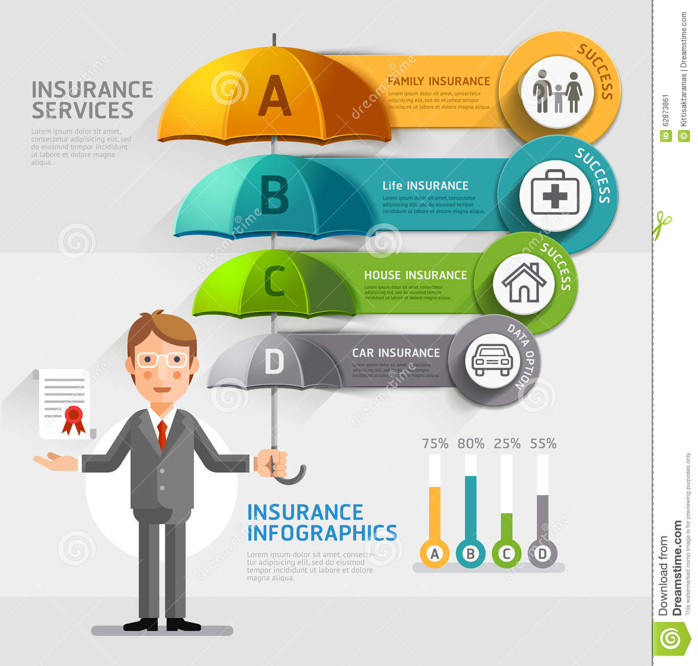 Services: Business Insurance Services Conceptual. Stock Vector