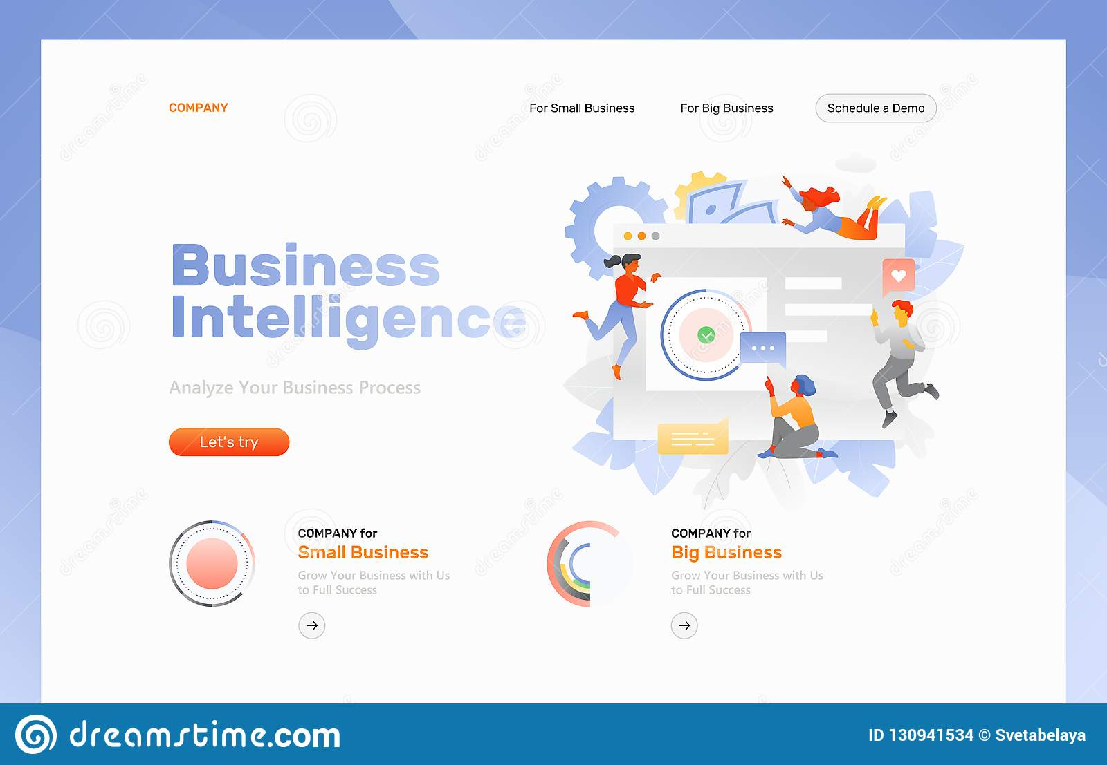 vector web page template of business intelligence  big screen with diagram  surrounded by tiny developers