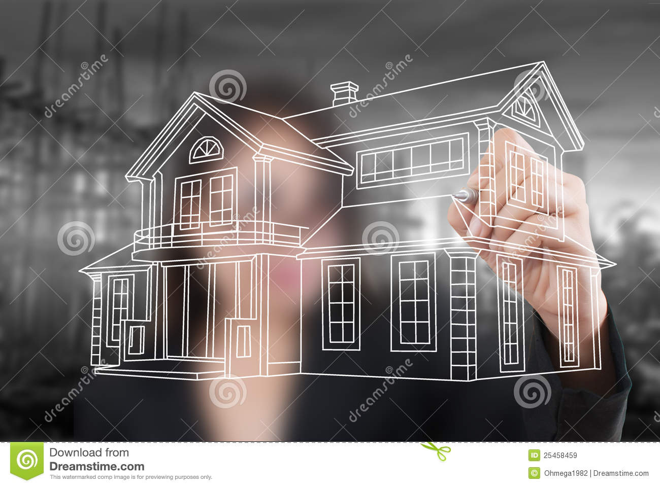 Business lady drawing house plan for construction stock for Home building business plan