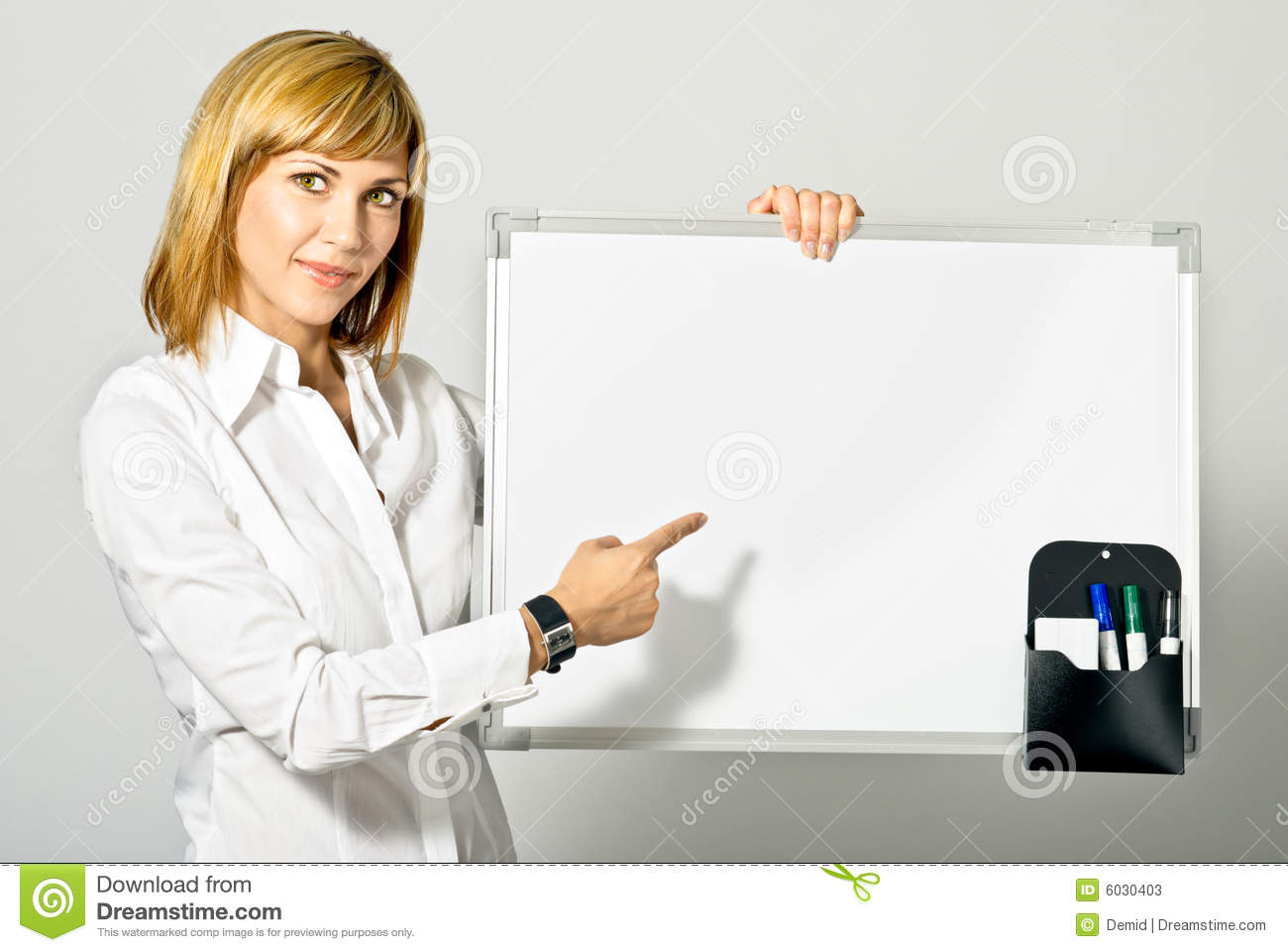 business lady pointing to whiteboard stock photos