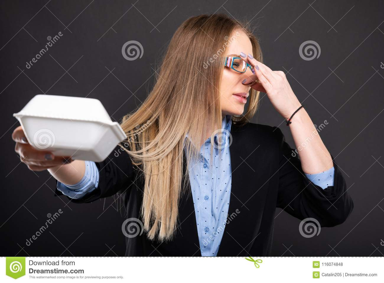 Business Lady Wearing Blue Glasses Holding Bad Smelling