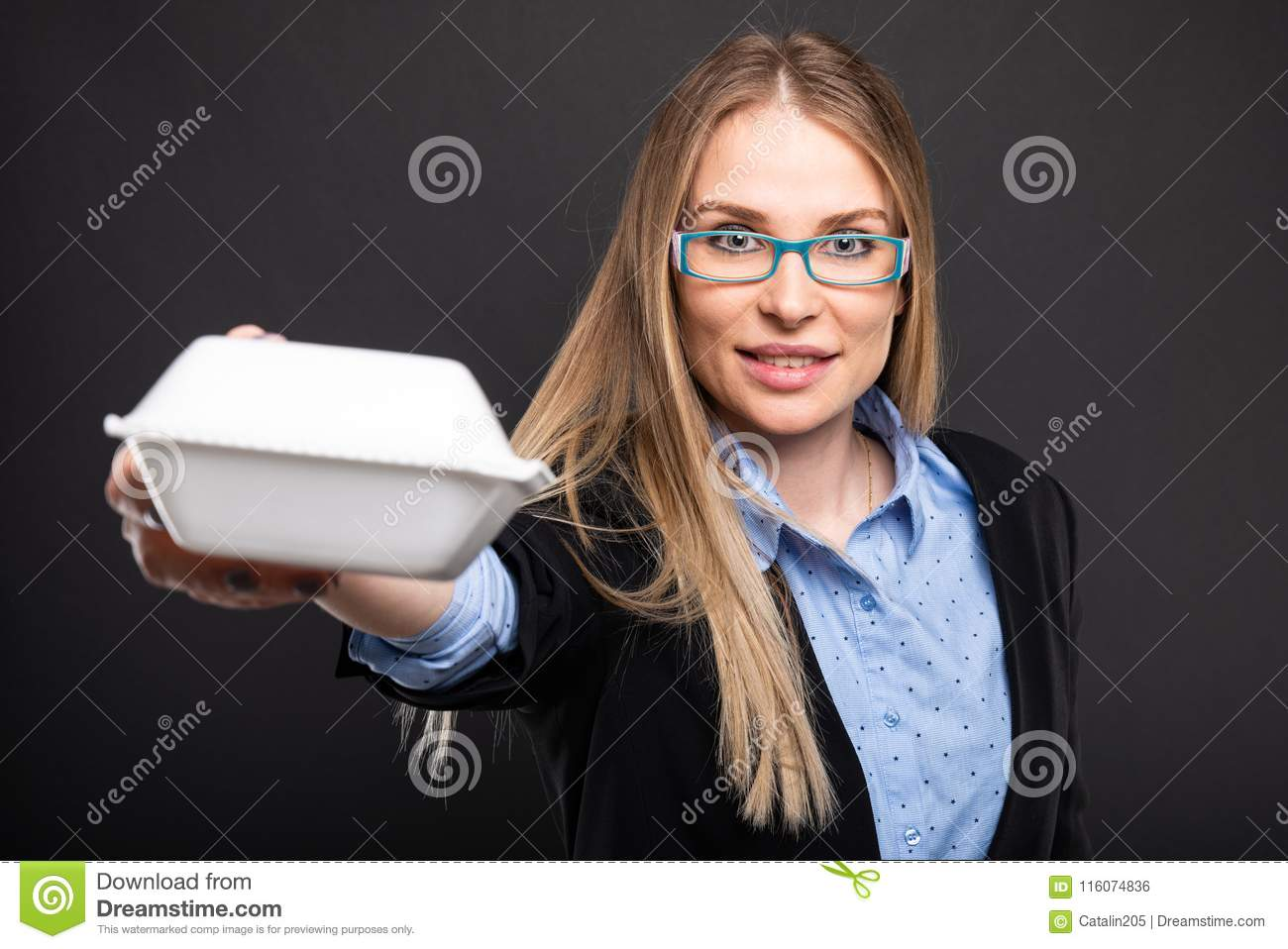 Business Lady Wearing Blue Glasses Offering Lunch Box Stock