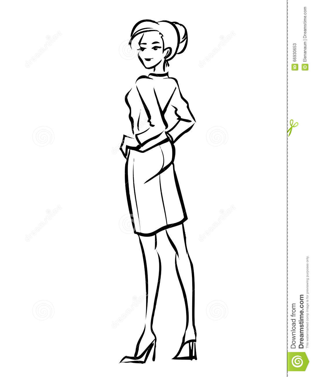 Line Drawing Lady : Business lady stock vector image