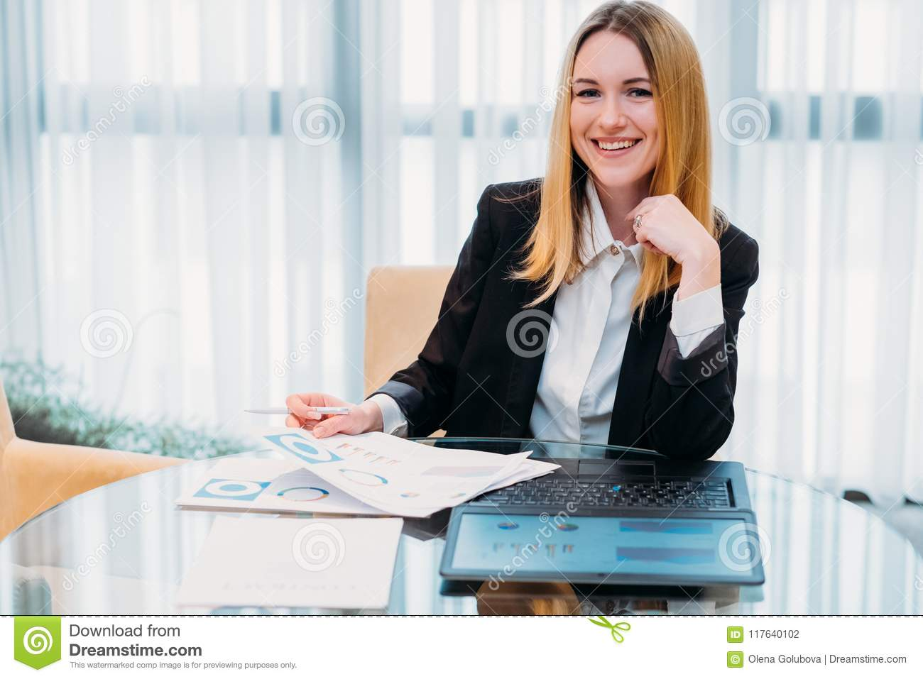 Business lady work manager documents office