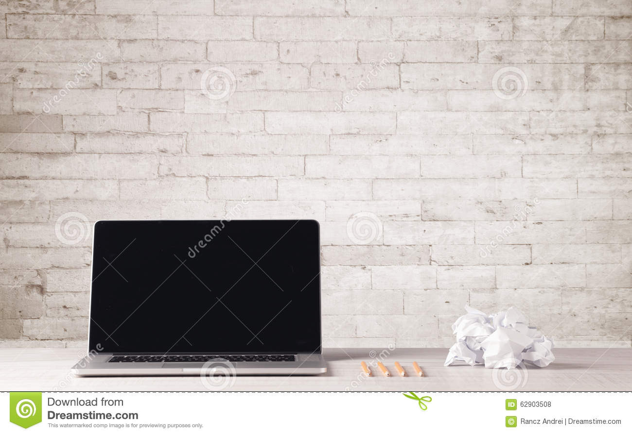 Business Laptop With White Brick Wall Stock Photo Image
