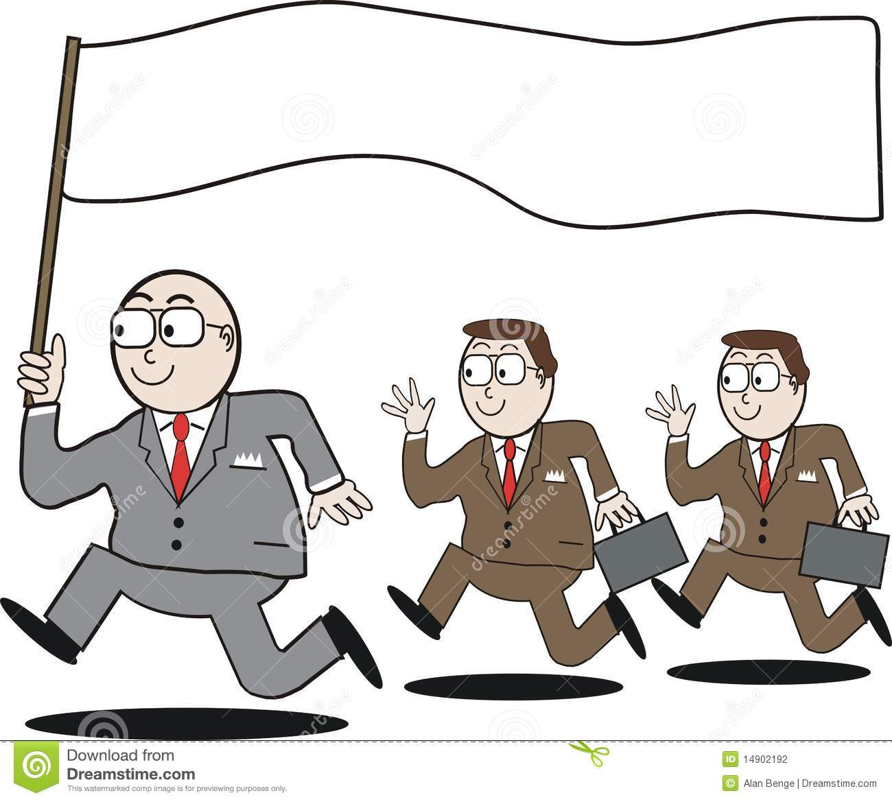 Cartoon of business leader running with blank flag, followed by ...