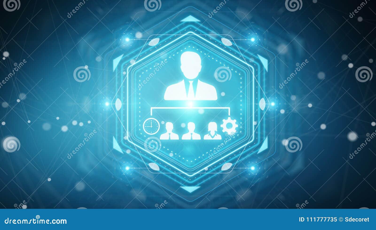 Business leadership chart digital interface 3D rendering