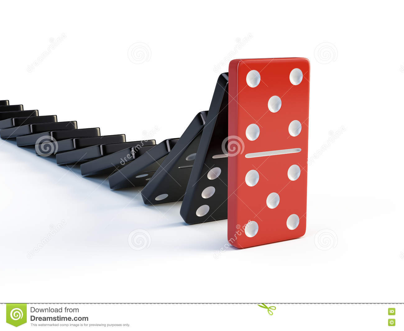 Business, leadership and teamwork concept - Red domino stops falling other dominoes