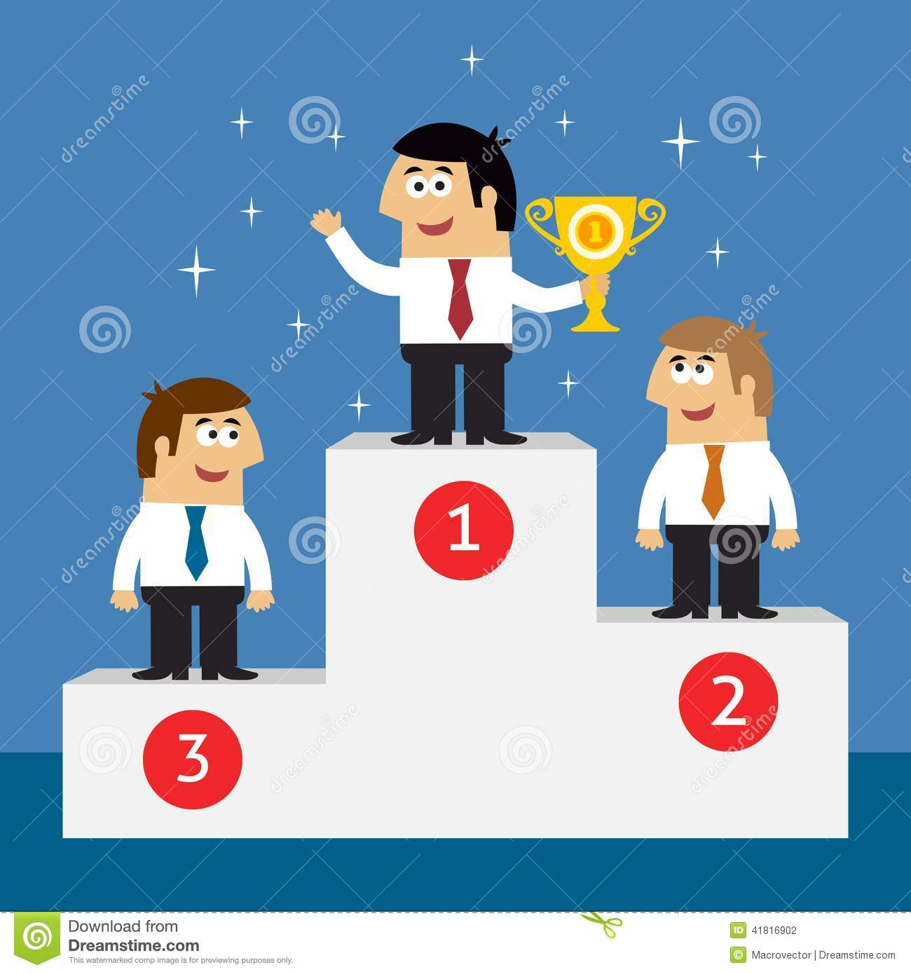 Business Life Employees On Winners Podium Stock Vector