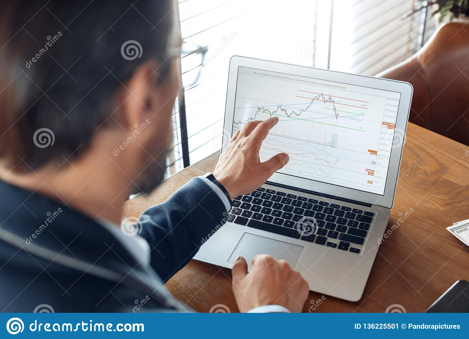 Business Lifestyle. Trader sitting at cafe looking at trading charts on laptop concentrated back view close-up