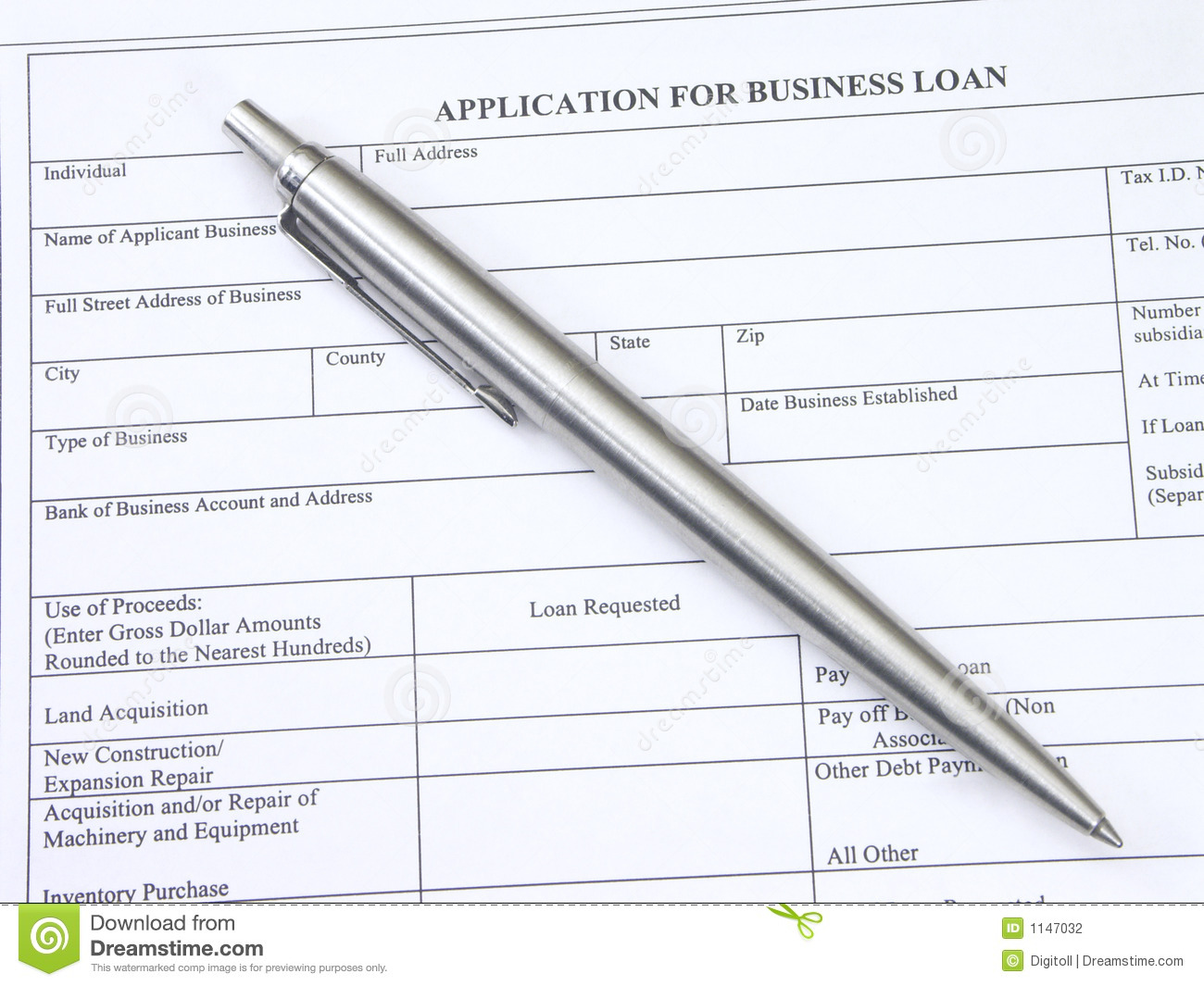 business loan application | Template