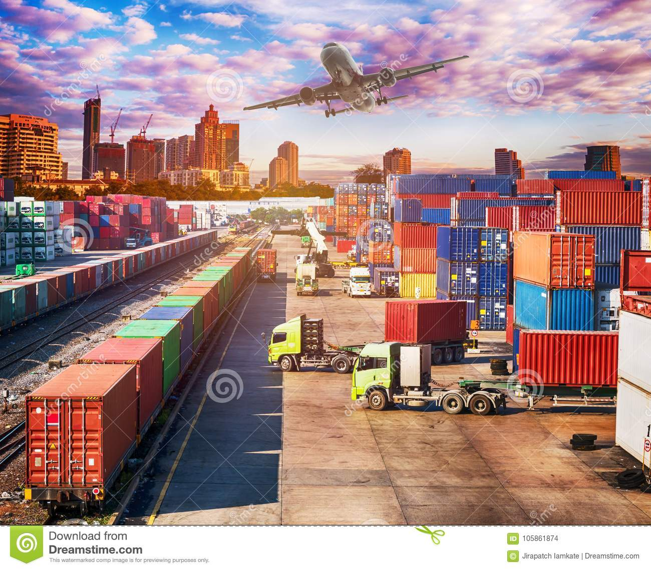 Business Logistics Concept, Plane, Truck And Train Stock