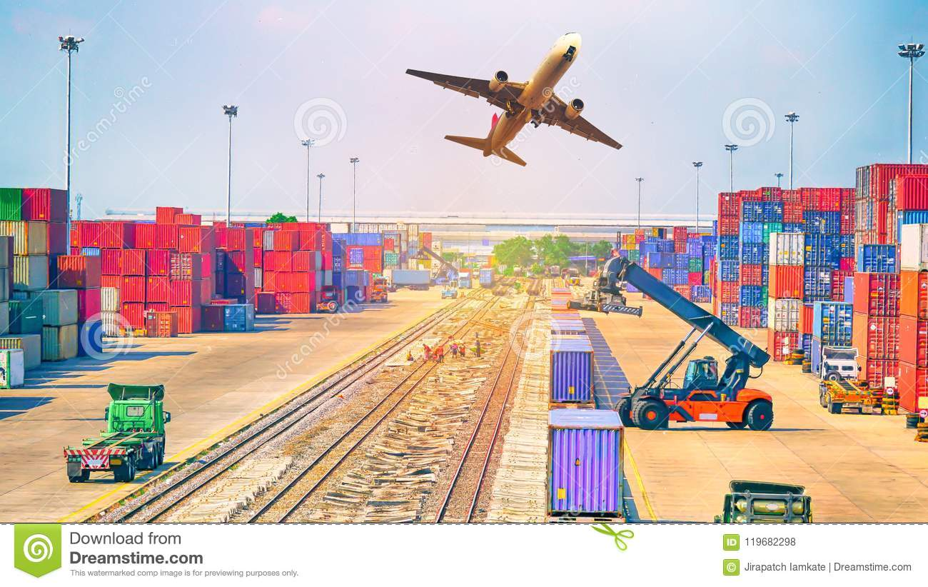 Business Logistics Concept, Plane, Truck And Train For