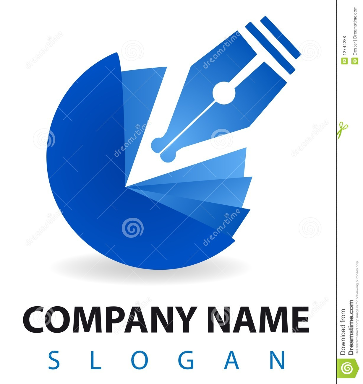 Buisness Logo: Business Logo: A Blu Pen And Inkwell Stock Illustration