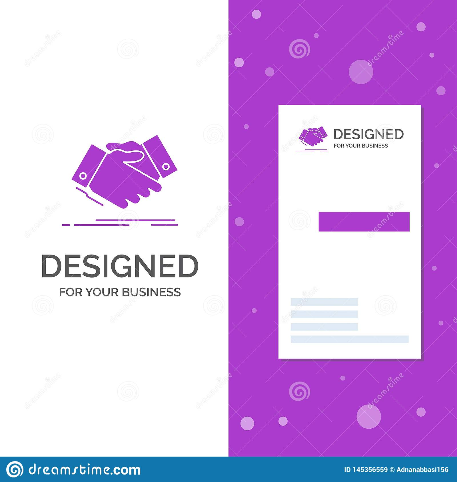 Business Logo for handshake, hand shake, shaking hand, Agreement, business. Vertical Purple Business / Visiting Card template.