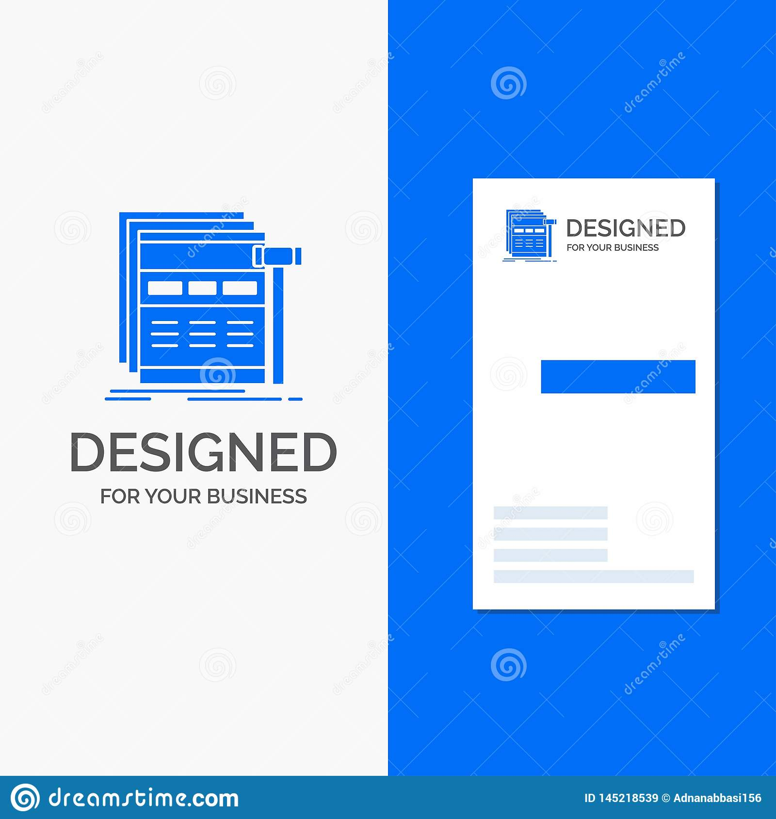 Business Logo for Internet, page, web, webpage, wireframe. Vertical Blue Business / Visiting Card template