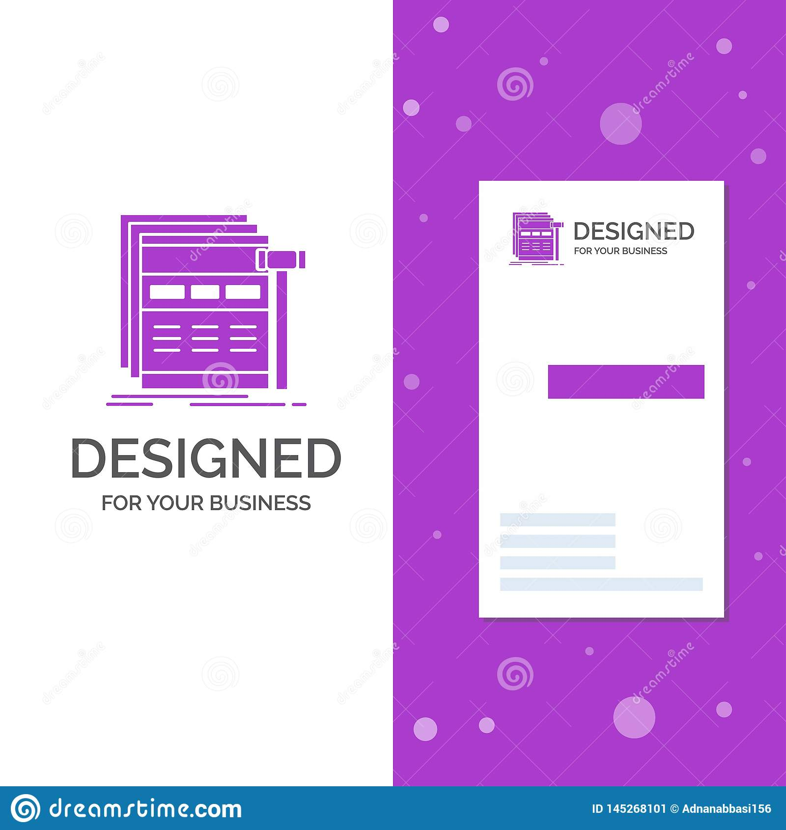 Business Logo for Internet, page, web, webpage, wireframe. Vertical Purple Business / Visiting Card template. Creative background