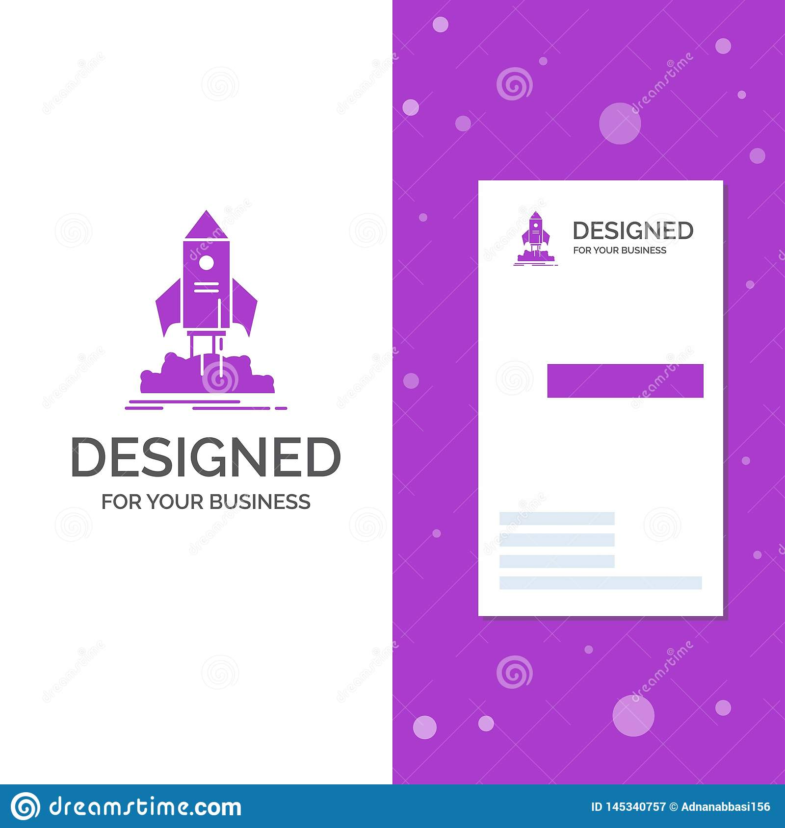 Business Logo for launch, startup, ship, shuttle, mission. Vertical Purple Business / Visiting Card template. Creative background