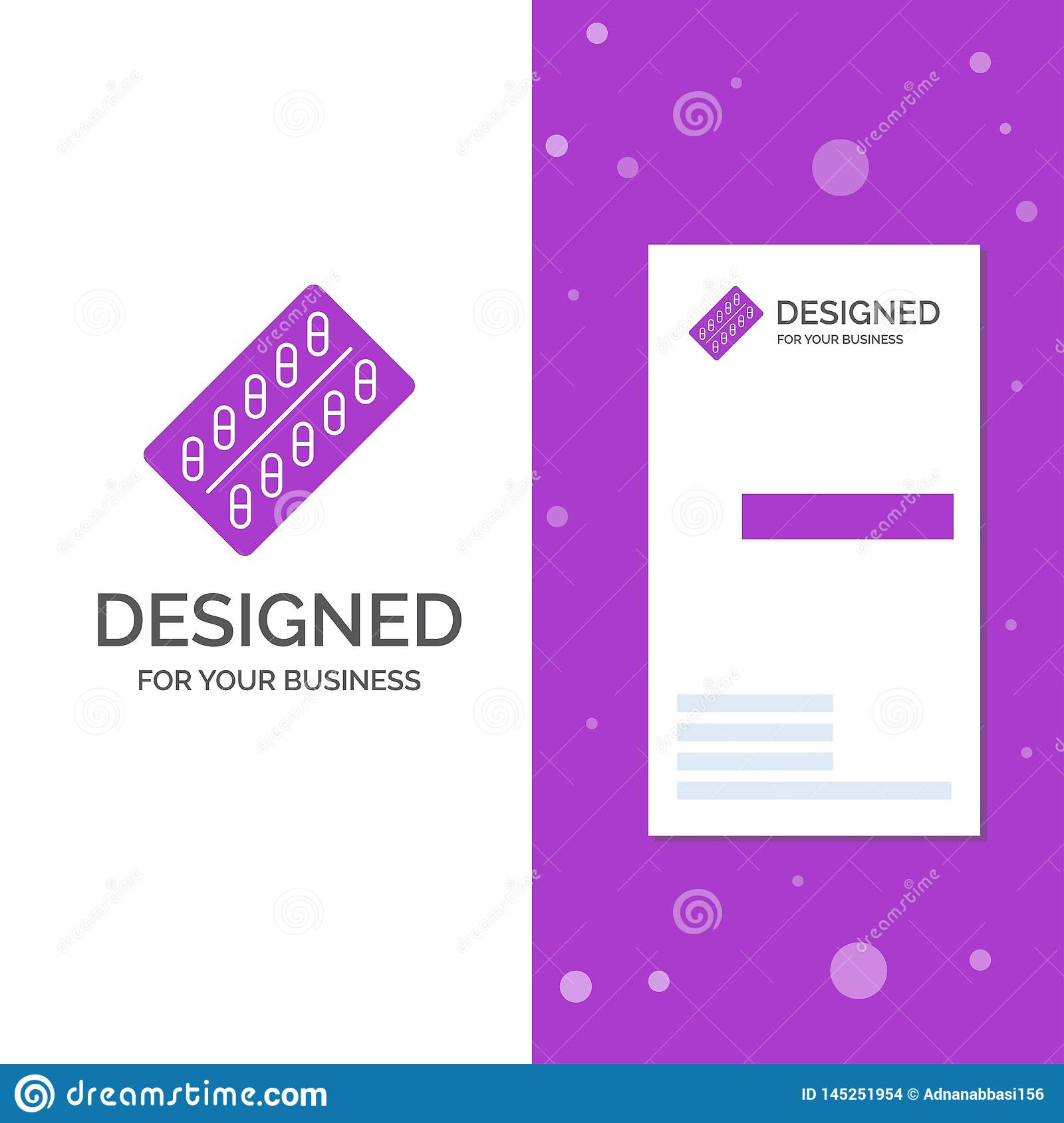 Business Logo for medicine, Pill, drugs, tablet, packet. Vertical Purple Business / Visiting Card template. Creative background
