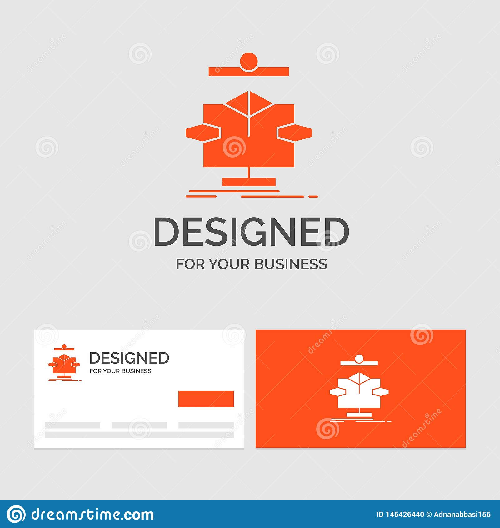 Business logo template for Algorithm, chart, data, diagram, flow. Orange Visiting Cards with Brand logo template