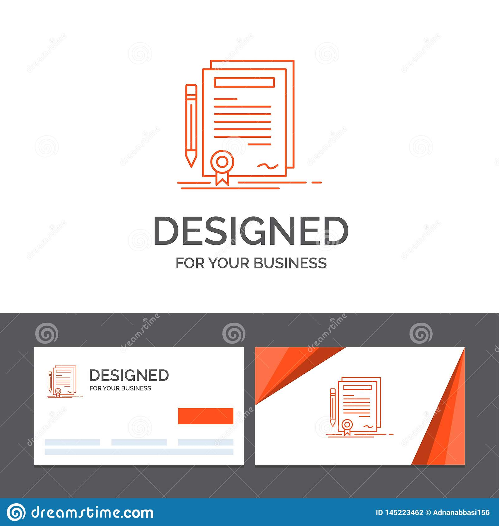 Business logo template for Business, certificate, contract, degree, document. Orange Visiting Cards with Brand logo template