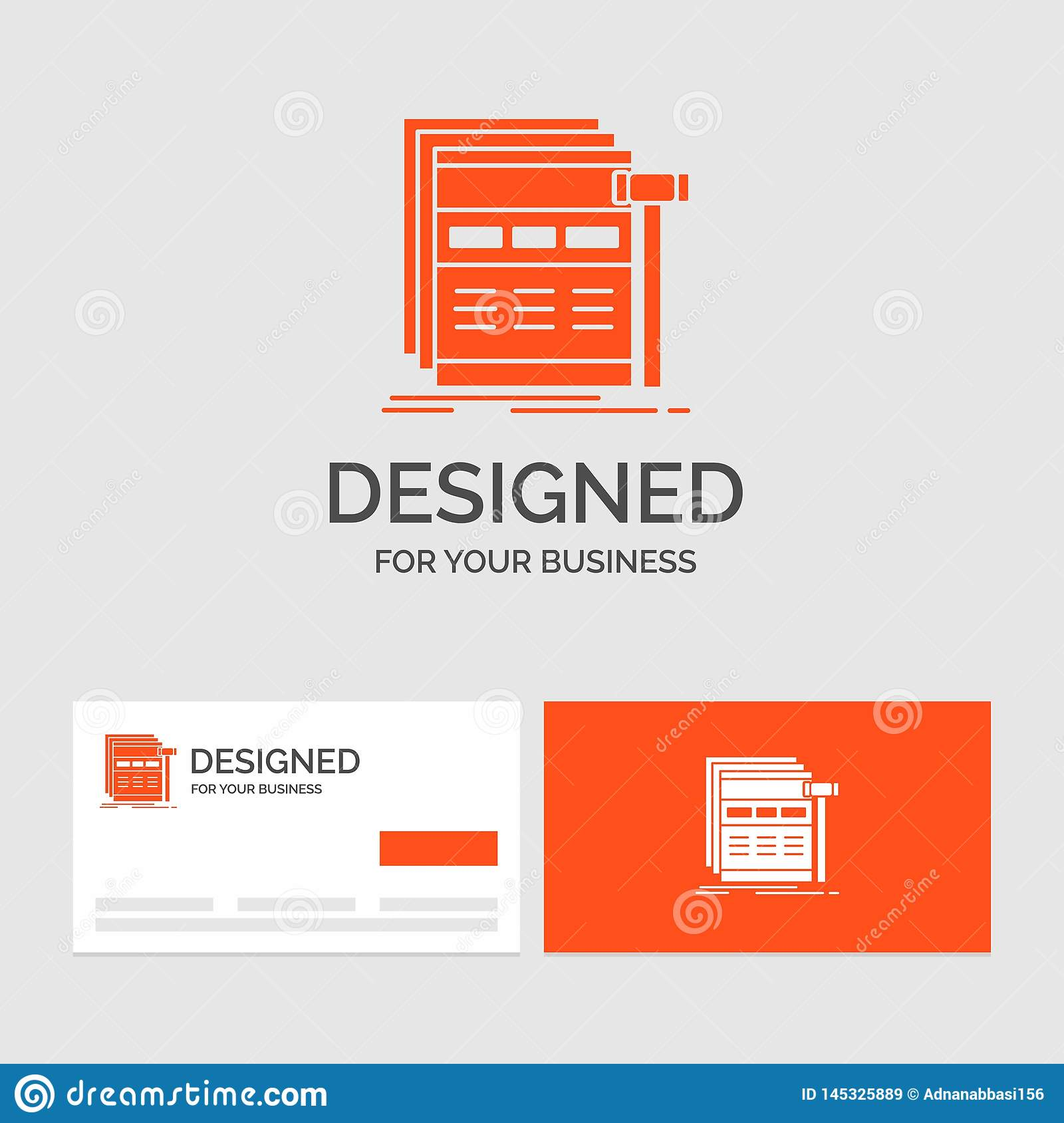 Business logo template for Internet, page, web, webpage, wireframe. Orange Visiting Cards with Brand logo template