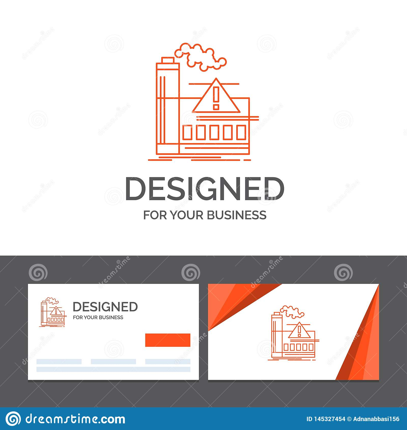 Business logo template for pollution, Factory, Air, Alert, industry. Orange Visiting Cards with Brand logo template