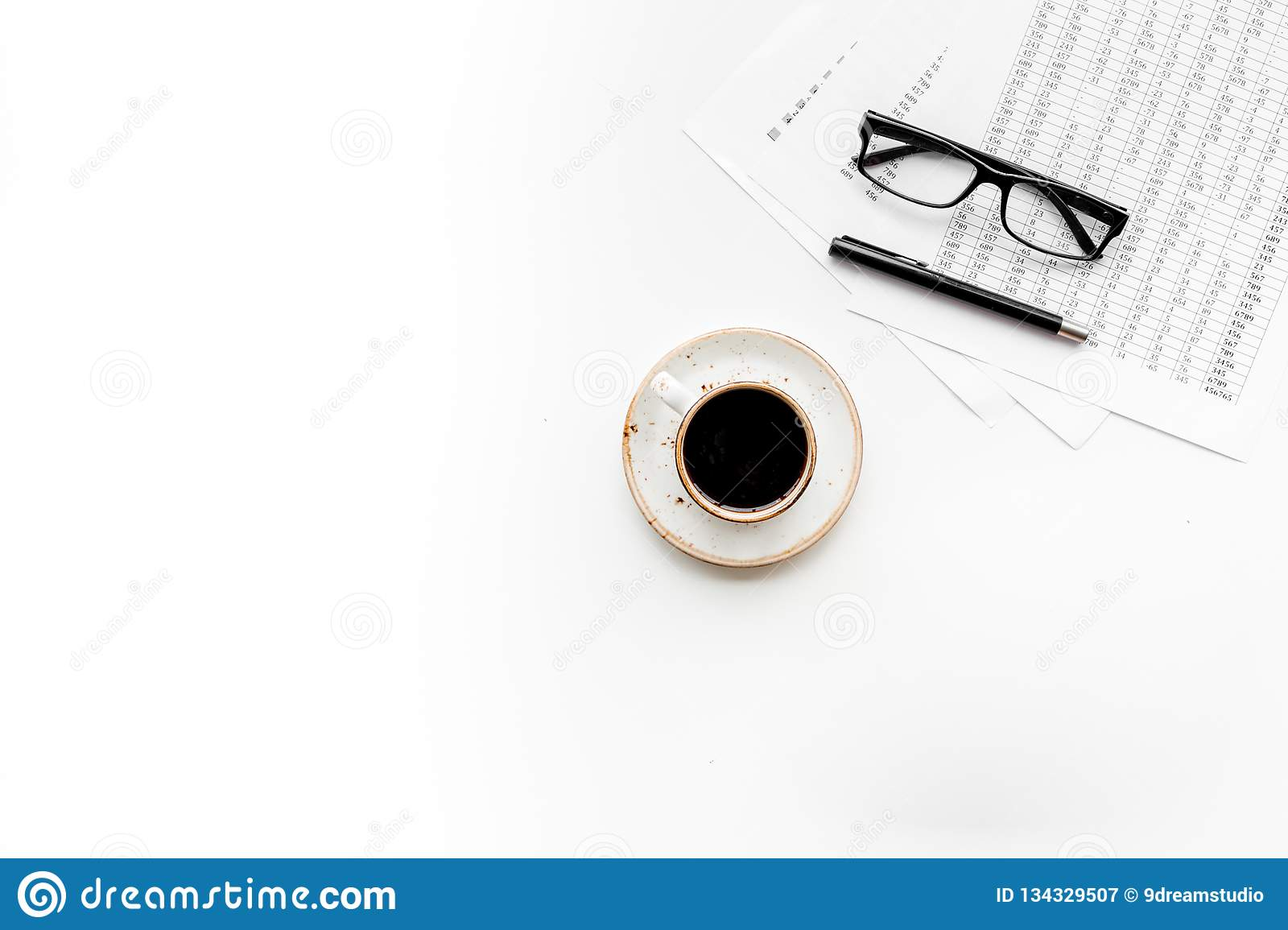 Business lunch with pencil document and black coffee on