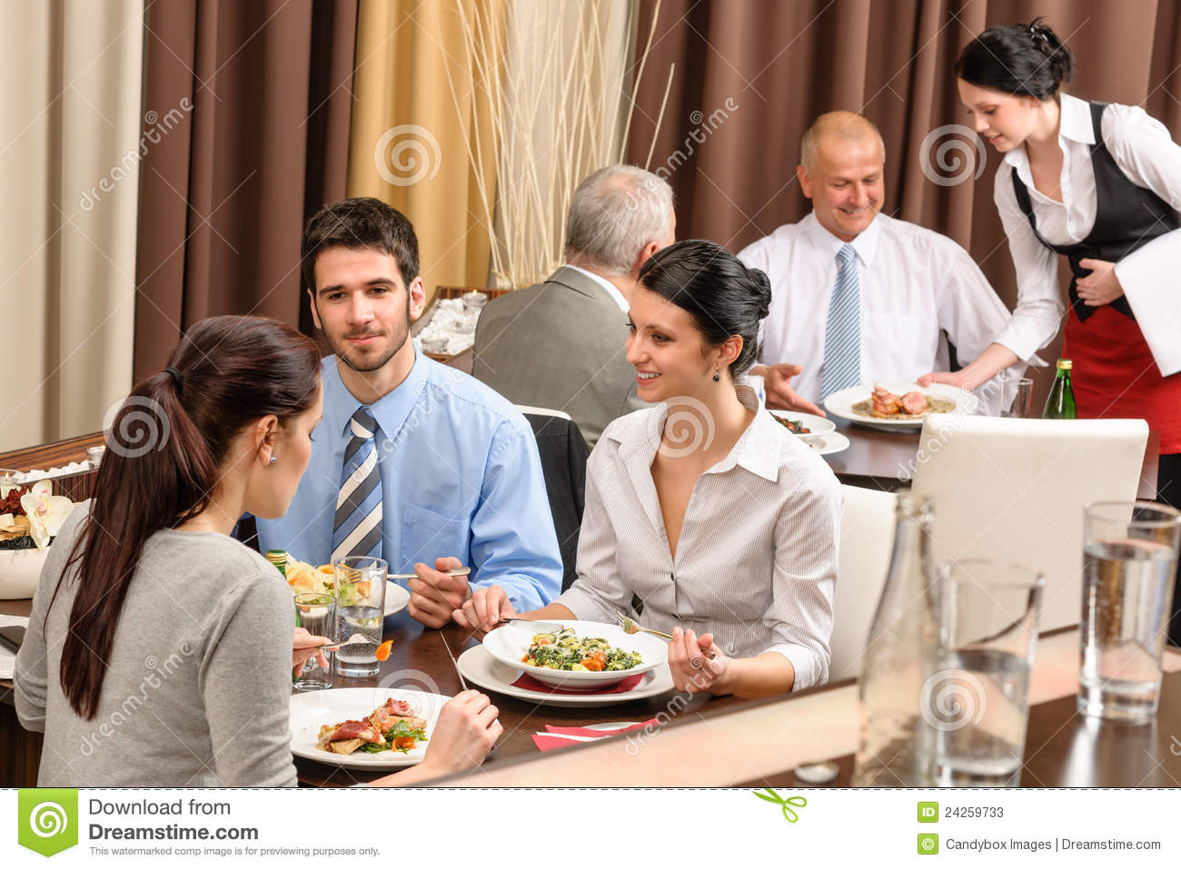 Business Lunch Restaurant People Eating Meal Stock Image ...