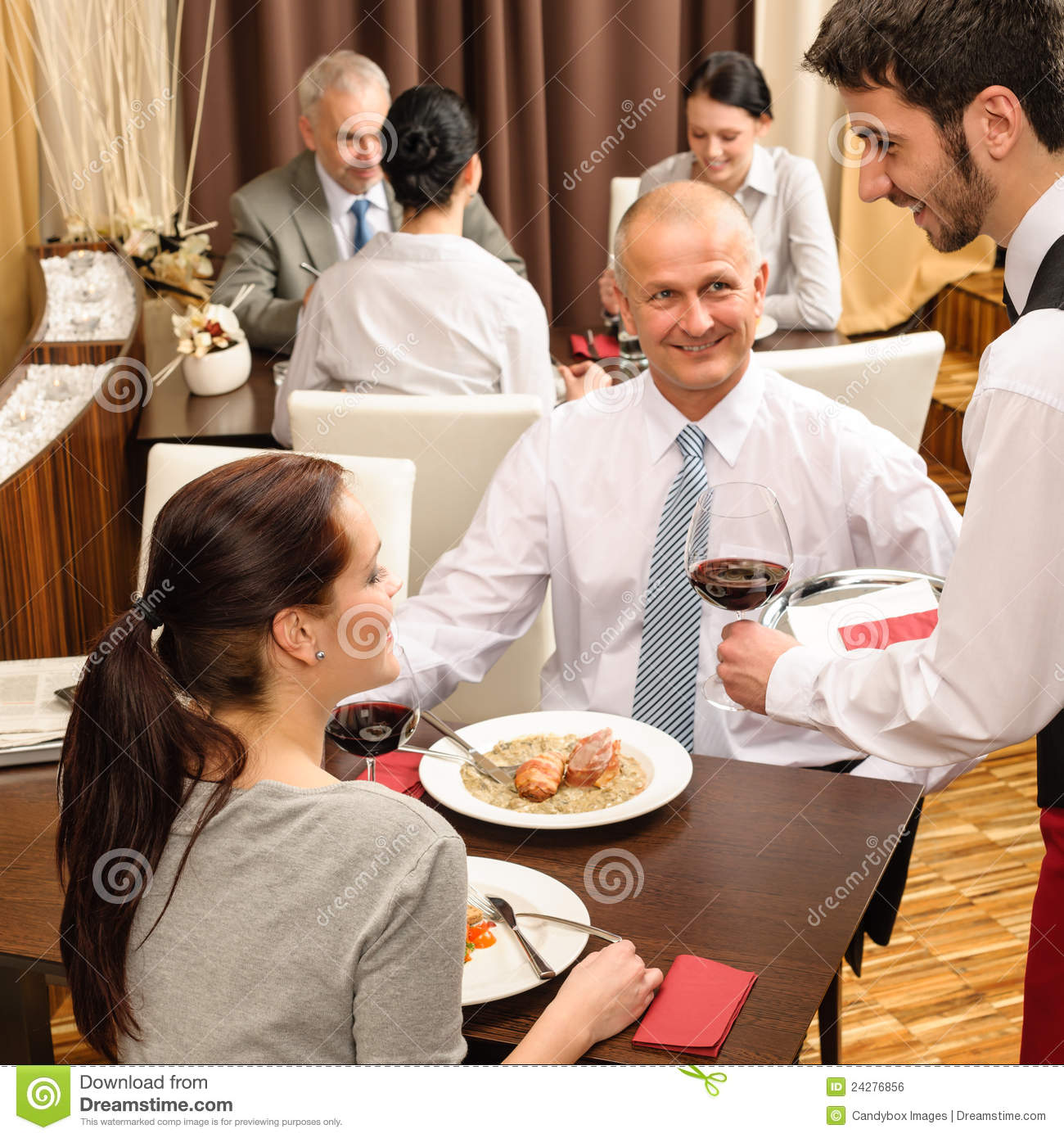 Business Lunch Waiter Serving Red Wine Royalty Free Stock ...