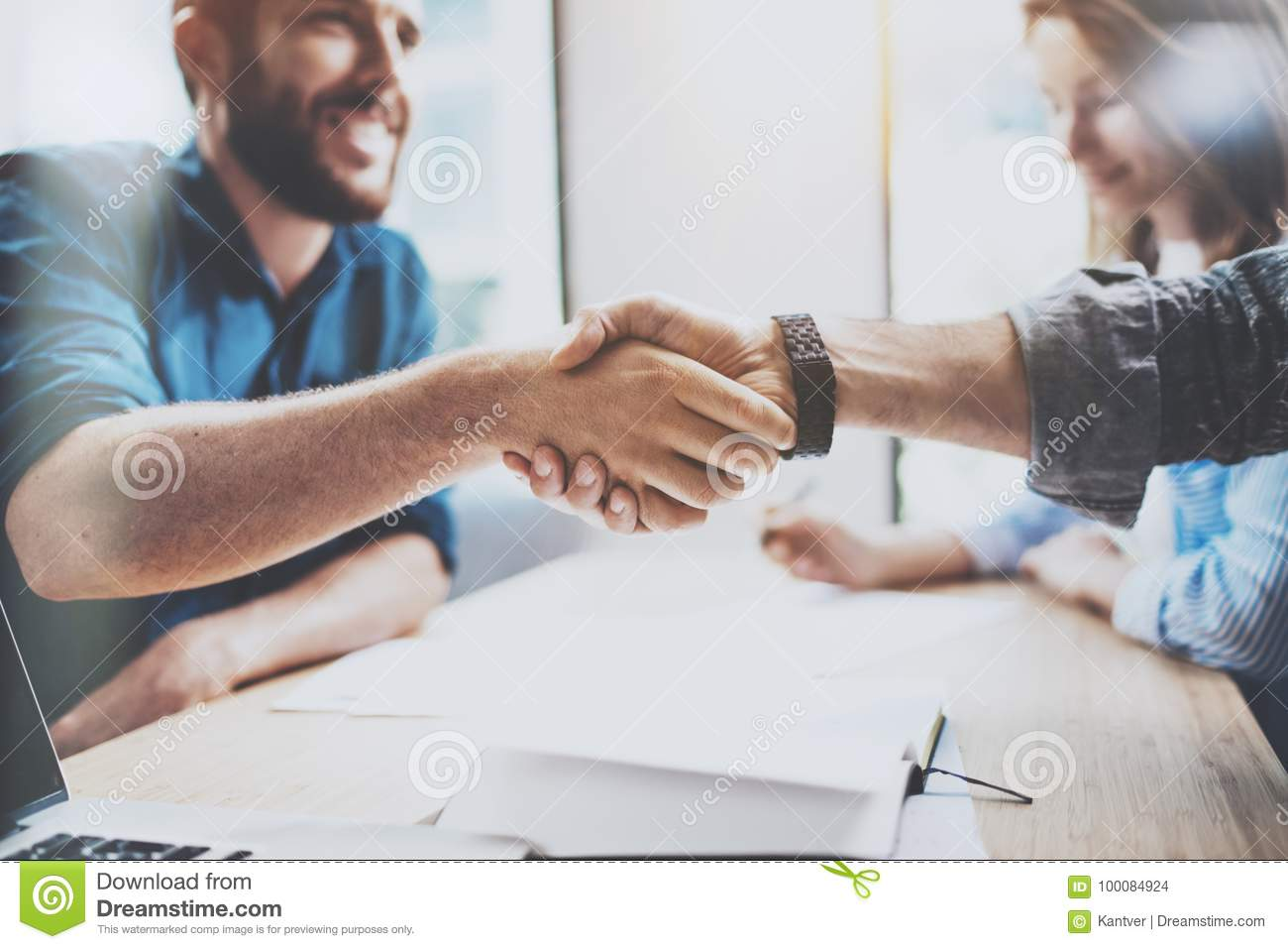 Business male partnership handshake concept. Photo two mans handshaking process. Successful deal after great meeting
