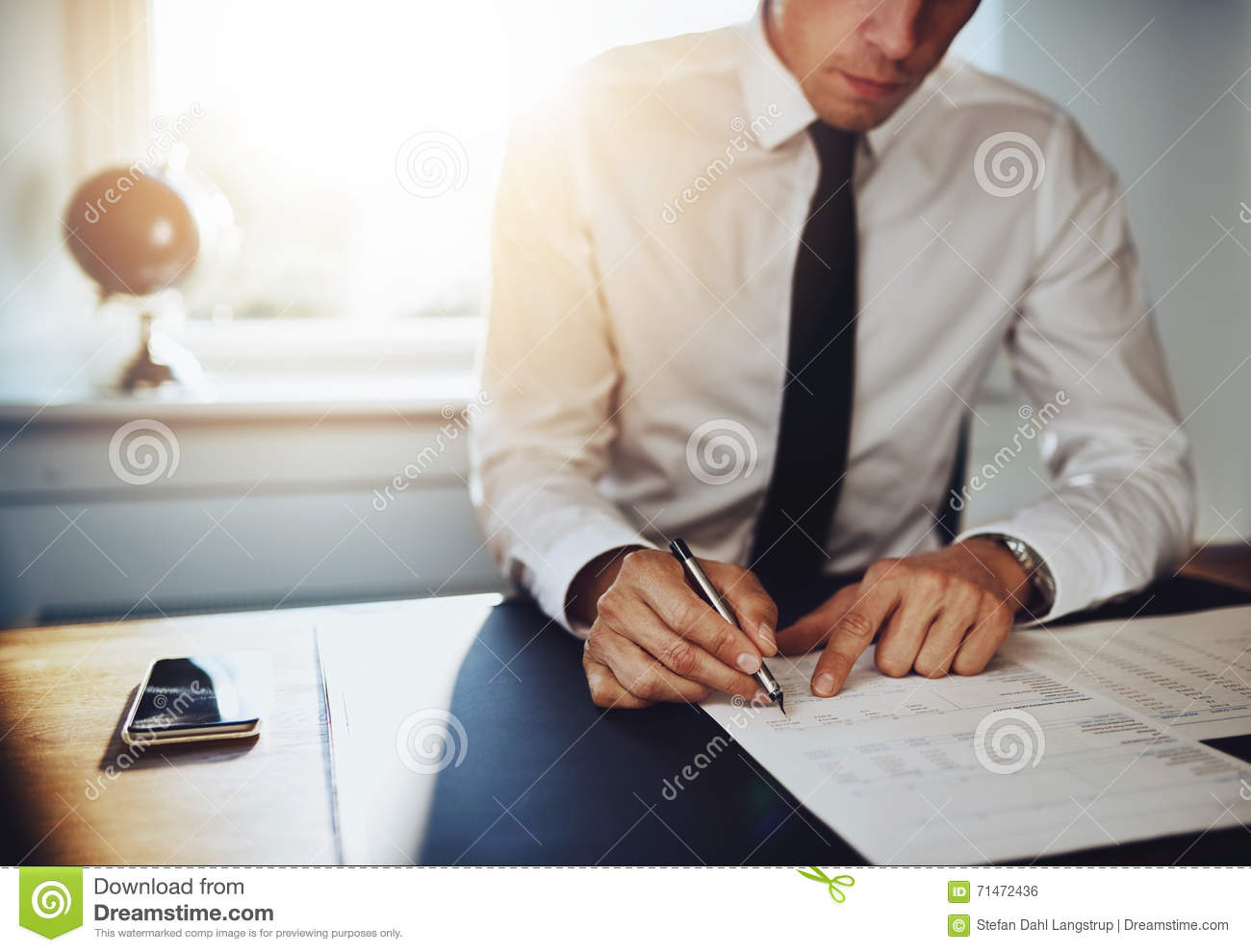 Business Man Or Accountant Lawyer Working On Documents Stock