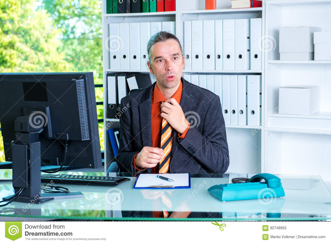 Hot office pic Outfits Business Man Behind His Desk In Summerly Hot Office The Big Lead Business Man Behind His Desk In Summerly Hot Office Stock Image