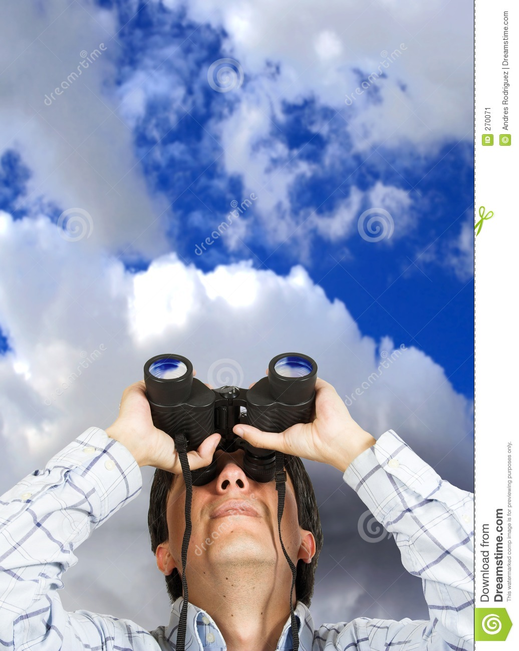 Business Man With Binoculars Over Sky Stock Image Image