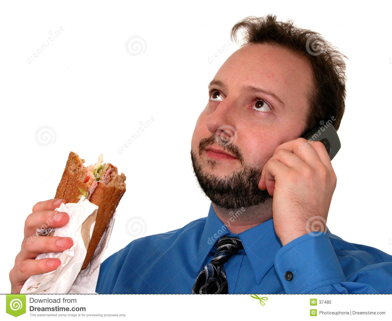 Business Man in Blue (Eating Lunch)