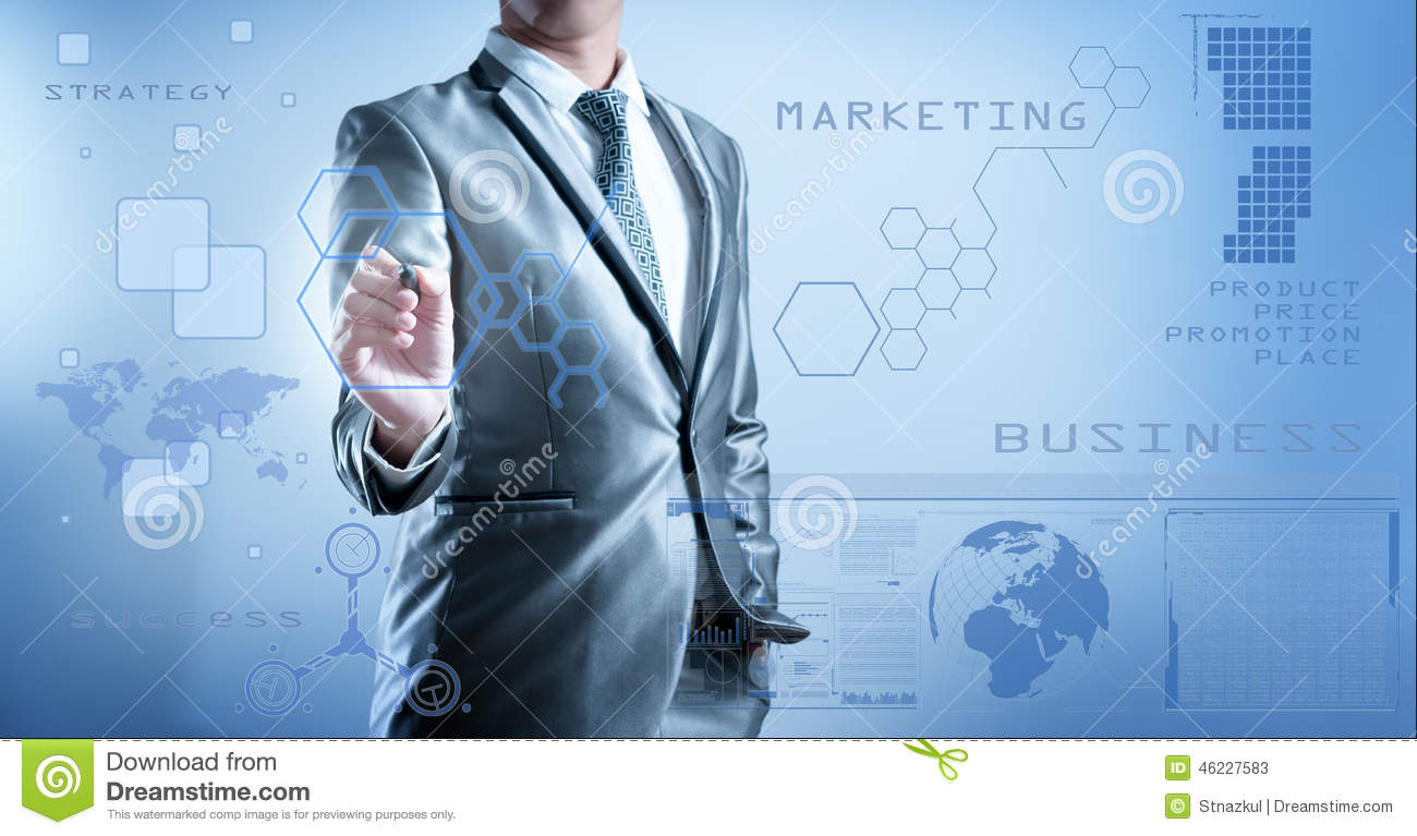 Business man in blue grey suit using digital pen working with di